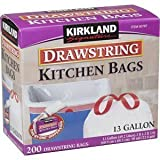 Kirkland Signature Drawstring Kitchen Trash Bags – 13 Gallon – 200 Count, Health Care Stuffs