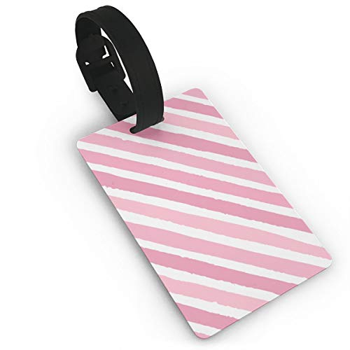 Pink Stripe Luggage Tags is PVC Material, Durable Very Suitable for Men and Women in -