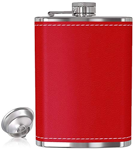 Flask for Liquor and Funnel - 8 Oz Leak Proof 18/8 Stainless Steel Pocket Hip Flask with Red Leather Cover for Discrete Shot Drinking of Alcohol, Whiskey, Rum and Vodka | Gift for Women
