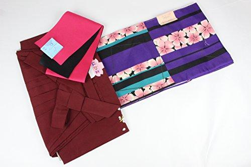 アプライアンス定期的にコンテスト二尺袖 WN-9-3SET 着物 ショート丈 選べる刺繍袴 おまかせ袴下帯 3点セット 卒業式に (3Lサイズ, エンジ)