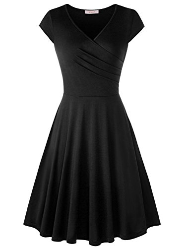 Pleated Crossover (WAJAT Women's Casual A Line Cap Sleeve V Neck Crossover Pleated Dress Black XL)