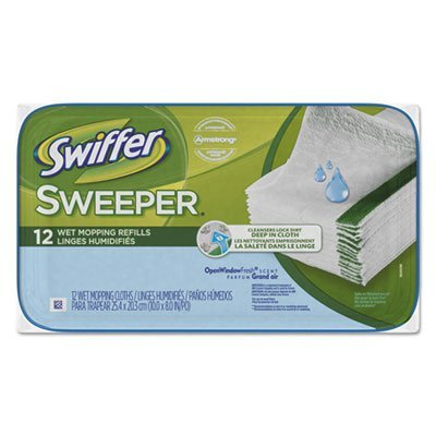 Swiffer 95531CT Wet Refill Cloths, Open Window Fresh, Cloth, White, 8x10, 12/Tub, 12Tub/Carton