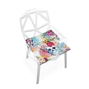 Xinxin Cojín de asiento colorido con diseño de calavera, funda suave para silla almohadillas antideslizantes para decoración del hogar, para patio, muebles, comedor, 40 x 40 cm