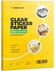 (20 Sheets) Clear Sticker Paper for Inkjet Printer Transparent 8.5 x 11 Vinyl - Printable Sheets Matte DIY Personalized Stickers Murals Decals Labels Weatherproof Self Adhesive // Paper Plan