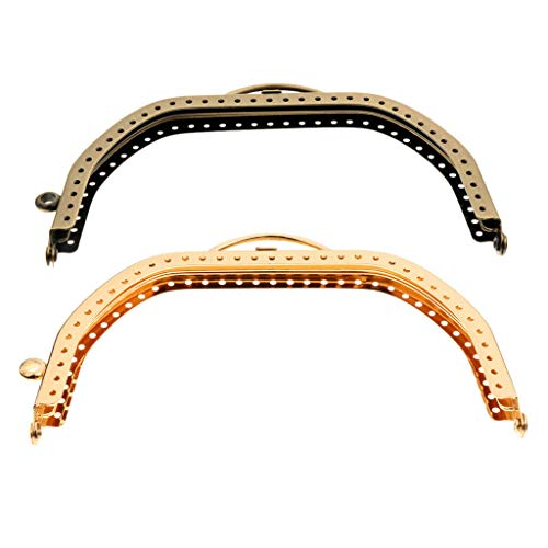 (2 Pcs Antiqued Brass Gold Tone Purse Bag Metal Arch Frame Kiss Clasp Lock Handle | Color - Style 5)