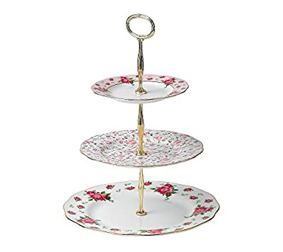 Royal Albert New Country Roses White Vintage 3-Tier Cake Stand