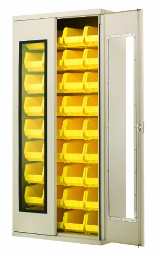 Akro-Mils AC3618 QV240 Steel Quick View Storage Cabinet, Flush See-Thru Doors, Louvered Panel, 36 Yellow AkroBins, 36