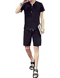 Plaid&Plain Men's Beachwear Set of Short Sleeve Linen T Shirt and Shorts