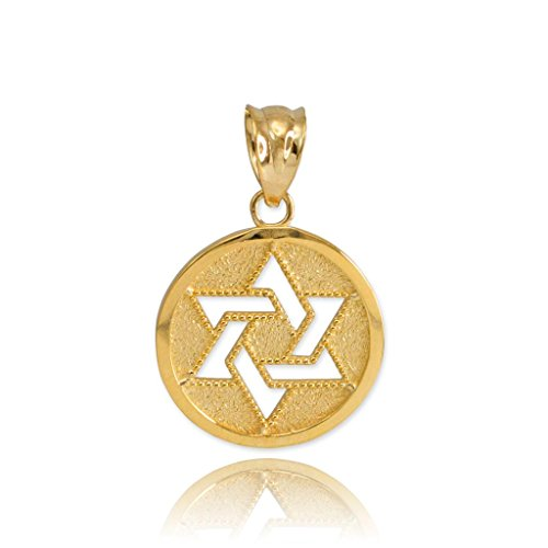 Fine 10k Yellow Gold Milgrain-Edged Medal Jewish Star of David Charm Pendant
