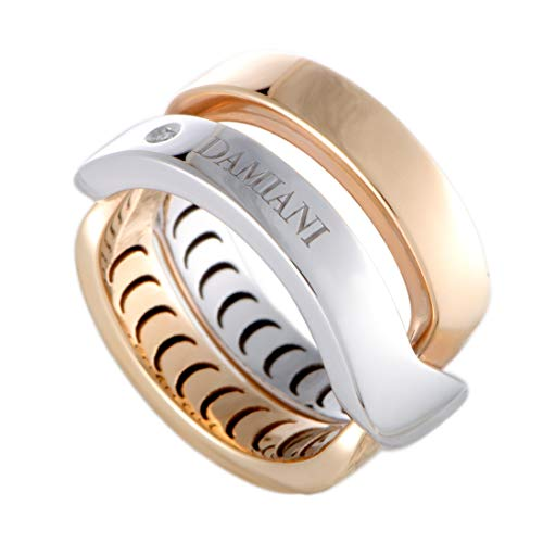 Damiani Abbraccio 18K White and Rose Gold Single Diamond Crisscross Ring