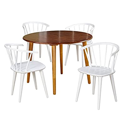 """Target Marketing Systems 5 Piece Florence Dining Set with 4 Chairs and a Round Table, Oak/White - The Dining Chairs Measure 20"""" X 21"""" X 30"""" and the Table Measures 42"""" X 42"""" X 30"""". The Complete Package Weighs 95 Lbs and Arrives with Only Minimal Assembly Required. Looking to Furnish Your Space on a Budget? This Dining Set is for You! A Beautifully Chic and Contemporary Set, the Dining Set Comes with 4 Rounded Spindle Back Chairs and a Round Table. Classic White Chairs Paired with a Oak Table Give the Dining Set a Modern Look that Enhances the Aesthetics of Any Home. - kitchen-dining-room-furniture, kitchen-dining-room, dining-sets - 41BeuiDOeCL. SS400  -"""