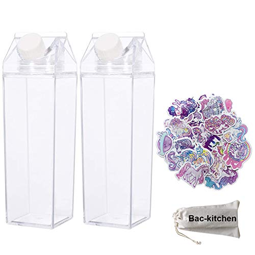 2 Pack Milk Carton Water Bottle - Clear Square Milk Bottles BPA Free Portable Water Bottle with 23 PCS Stickers For Outdoor Sports Travel Camping Activities(500ml) (500ml)