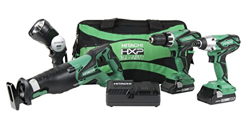 Hitachi KC18DG4L 18V Cordless 4 Piece Combo Kit, Hammer Drill, Impact Driver, Recip Saw, Flashlight, 2 Compact 3.0 Ah Lithium Ion Batteries, Lifetime Tool - Cordless 18v Skill Drill
