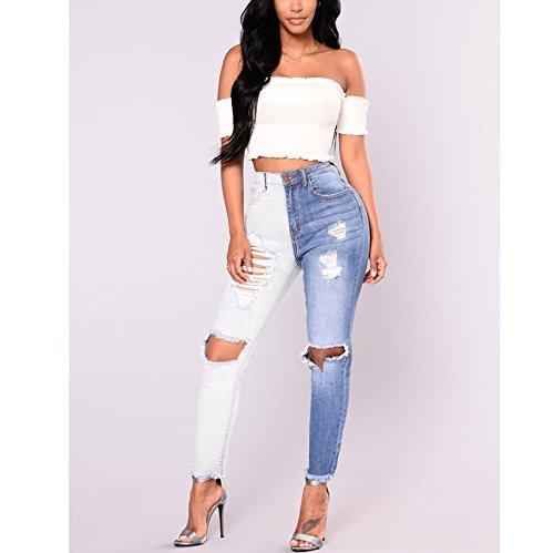 Stirata Strappati Donna Fuweiencore Blu Jeans Up Pantaloni Alta Stretti Push Vita Skinny qv5ERx5