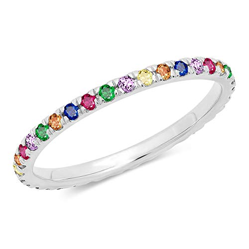 Rhodium Plated Brass Ring - FIENFEY 18K Gold Plated Rainbow Ring CZ Simulated Stacking Ring Eternity Bands for Women (Rhodium-Plated-Brass, 8)