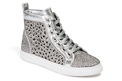 Couture Bling - Lady Couture Flat Laser Cut High Top Bling Rhinestone Sneaker Women's Shoes New York Silver 41