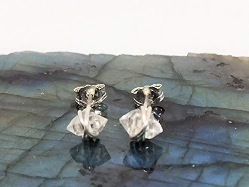 Herkimer Diamond Stud Earrings Small Size 930 Argentium Silver Wire and Backings, Dainty Herkimer Stud Herkimer Jewelry
