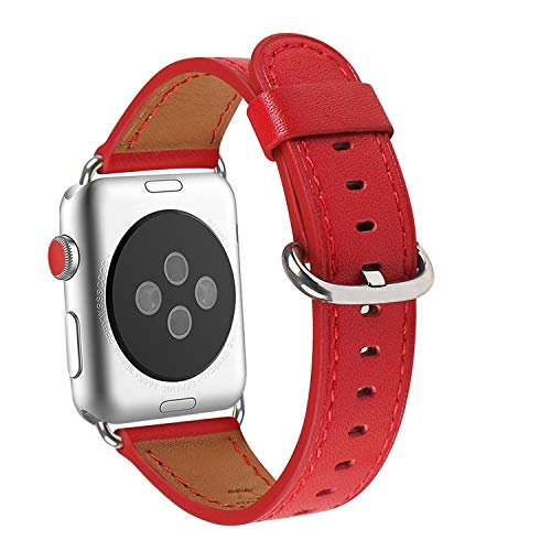 WFEAGL Compatible iWatch Band 38mm 40mm, Top Grain Leather Band for iWatch Series 4,Series 3,Series 2,Series 1,Sport, Edition (38mm 40mm,Red Band+Silver Adapter)