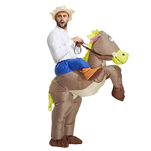 TOLOCO Inflatable Adult Western Cowboy Riding Horse Halloween Costume - Halloween Cowboy Costume
