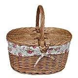 Light Steamed Oval Lidded Garden Rose Lined Picnic Basket
