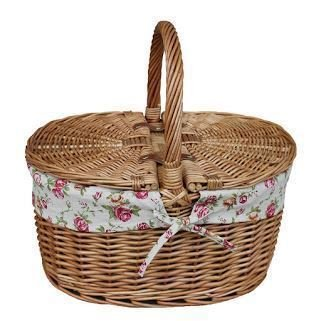 Light Steamed Oval Lidded Garden Rose Lined Picnic Basket by Red Hamper