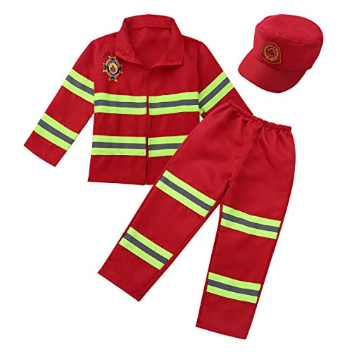 FEESHOW Children's Kids Boys Girls Fire fighter Chief Role Play Costume Fireman Fancy Dress Up Outfit Clothes