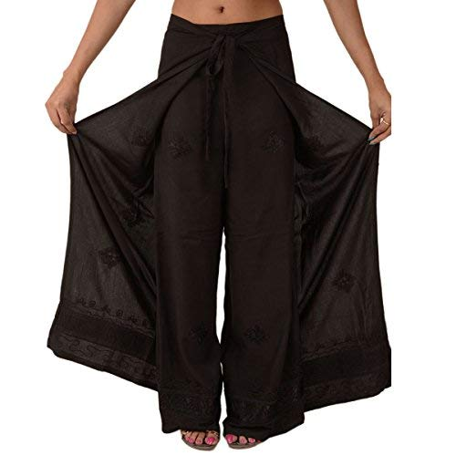 Skirts N Scarves  Rayon Embroidered Aladdin Pant,Black,One Size