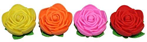 Lucore Rose Pencil Top Erasers - 16 pcs Colorful Flower Shaped Kids Pen Cap Toppers