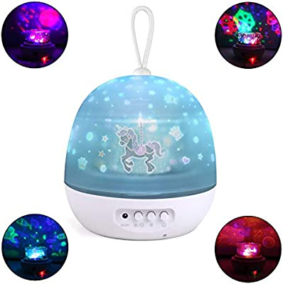 Johgee 360 Degree Rotating Black Star Night Light with 4 Sets of Film Star Projector Night Light for Kids 4 LED Bulbs 9 Lighting Effects and 6.6FT USB Cable for Kids Bedroom//Birthday Party