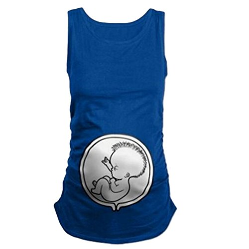 Zhhlaixing Tops de calidad Funny Belly Baby Print Maternity Vest Pure Color Cute Plus for Pregnancy Gifts Blue