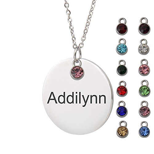 HUAN XUN Addilynn Name Surgical Steel Name Necklace Round Initial Necklace Personal Jewelry Birthday Valentine Gift -