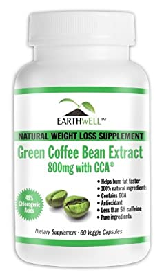 Green Coffee Bean Extract Pure with GCA Natural Weight Loss Supplement 800mg from EarthWell