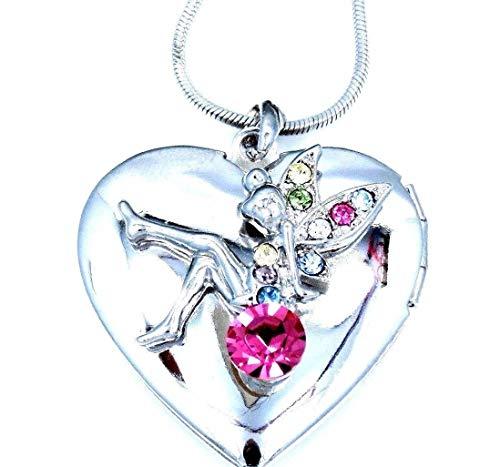 (Heart Locket Tinkerbell Fairy Silver Austrian Crystal Pendant Necklace New)