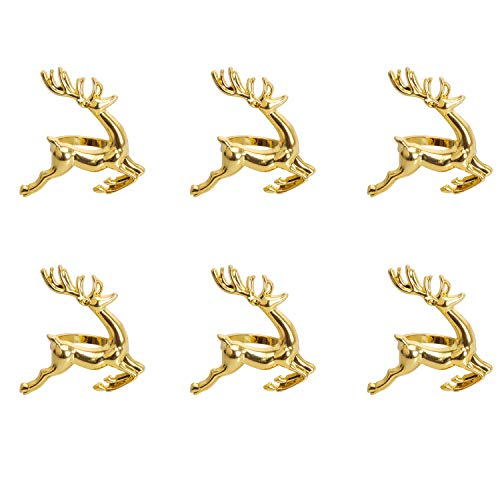 KissDate Napkin Rings, 6Pcs Gold Elk Chic Napkin Rings for Place Settings, Wedding Receptions, Christmas, Thanksgiving and Home Kitchen Dining Table Linen Accessories by KissDate (Image #2)