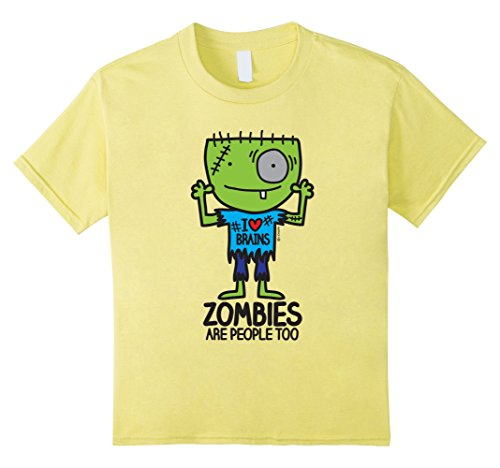 Kids Zombies are People Too Funny Brains T-Shirt 4 Lemon (Zombie Clothing)