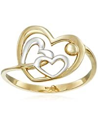 14k Yellow and White Two-Tone Gold Heart Ring, Size 7
