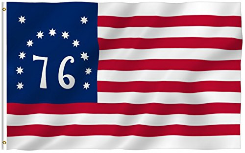 [ANLEY® [Fly Breeze] 3x5 Foot Bennington 76 Flag - Vivid Color and UV Fade Resistant - Canvas Header and Double Stitched - American Revolution Flags Polyester with Brass Grommets 3 X 5 Ft] (1776 Flag)