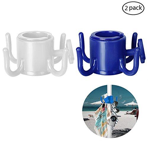 TAGVO 2 Pack Beach Umbrella Hanging Hook, 4-prongs Plastic Umbrella Hook Hanging for...