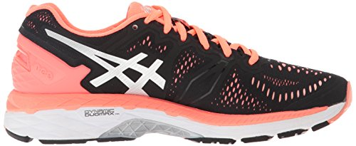 Asics Women's Gel-Kayano 23 Running Shoe, Cockatoo/Safety Yellow/Lapis, 5 B US Black/Silver/Flash Coral