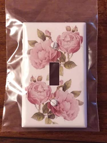 Single Toggle (1-toggle) Light Switch Plate Cover - Light Pink Roses - Flowers Plants