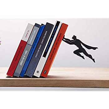 """Artori Design """"Book & Hero"""" - Black Metal Superhero Bookend, Unique Bookends, Gifts for Geeks, Gifts for Book Lovers, Cool Book Stopper, Fathers Day Gift, Gift for Dad"""