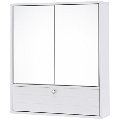 24.5'' White Double Door Wall Mounted Mirrored Cabinet w/ Adjustable Height Shelf
