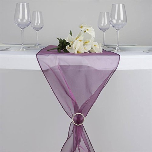 Efavormart Eggplant Premium Organza Table Top Runner for Weddings Birthday Party Banquets Decor Fit Rectangle and Round Table