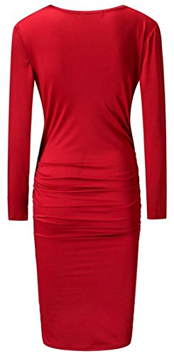 Pleated Bodycon Dress Solid Long Party Sleeve Wine Womens Red V Cruiize Neck 7xqYFpfn1