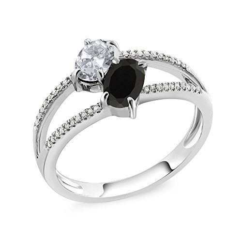 (Gem Stone King 10K White Gold 1.17 Ct Oval White Topaz Black Onyx 2 Stone Ring (Size 9))