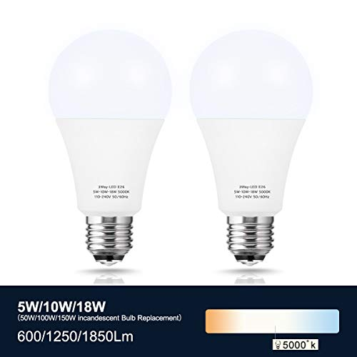 Briignite 3 Way Led Light Bulbs 50-100-150W Equivalent Daylight White 5000K, 3-Way A21 Led Light Bulb E26 Medium Base, 600lm-1250lm-1850lm, Perfect for Table Lamp, Floor Lamp, Desk Lamp, 2 Pack