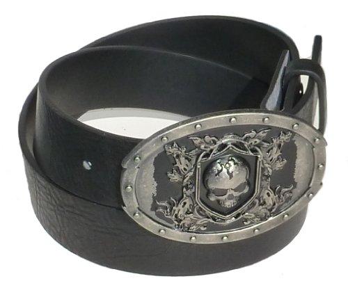 BeltsandStuds Man Women black snap on belt with Tomb Skull Buckle L 36 Black (Black Belt Skull Buckle)