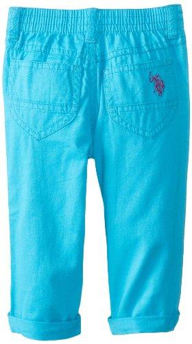 U.S. POLO ASSN. Little Girls' Skinny Roll Cuff Capri Pants