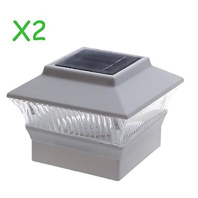 (2 Pack) Solar Power Square White Outdoor Garden Deck 4x4 PVC Fence Post Light