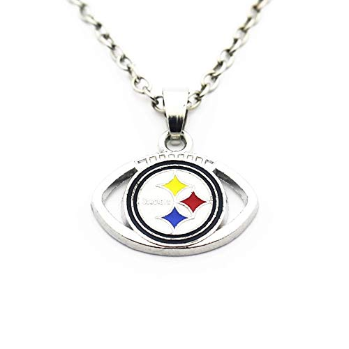 BAS Pittsburgh Steelers Necklace with Football Surround and Team Pendant Charm with 20 inch Stainless Steel Chain